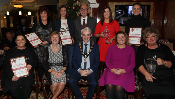 L-R Back Row: Jacqui McNeill (Midtown Makers Studio and Shop), Daphne Kenny (Ivory Grace Bridal Boutique Galgorm), Chris Wales (Chamber of Commerce), Gillian Matthews and Nuala Mullan (both Willow Beauty)  Front Row: Wendy McKay (Leaf Designs), Mayor Cllr. Audrey Wales MBE, Chamber President Ronan McCann, Linda Williams (Mid and East Antrim Borough Council) and Lynda Ferguson (Leaf Designs)